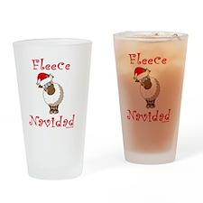 FleeceNavidadLightFinalTRANS-c Drinking Glass