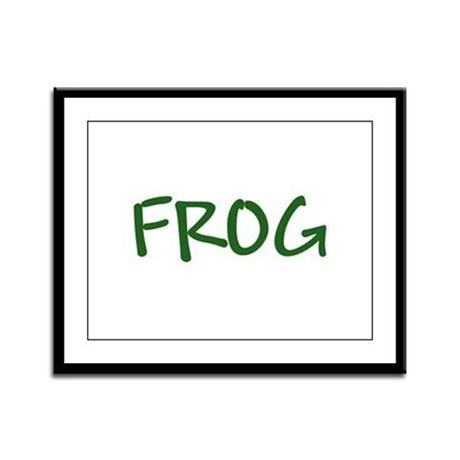 Green Text Frog Framed Panel Print