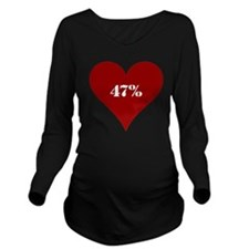 47% Red Love Long Sleeve Maternity T-Shirt