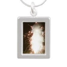Fireworks display Silver Portrait Necklace