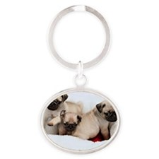 Puppies Oval Keychain
