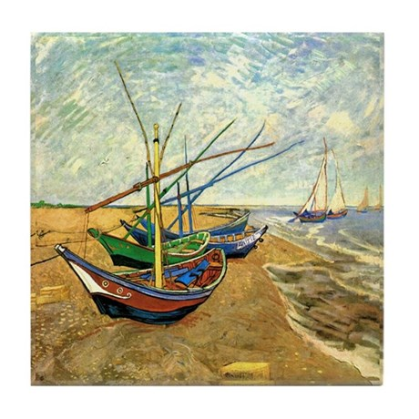 Van Gogh Ceramic Art Tile Coaster Fishing Boats