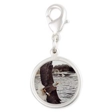 Striking Eagle Silver Round Charm