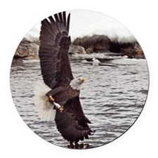 Striking Eagle Round Car Magnet