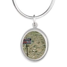 Area 51 UFO site Silver Oval Necklace