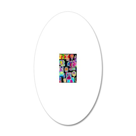Assortment of coloured X-ray 20x12 Oval Wall Decal