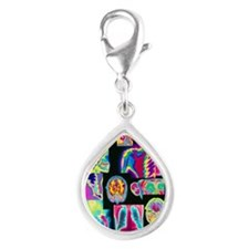 Assortment of coloured X-ra Silver Teardrop Charm