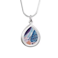Eye anatomy, artwork Silver Teardrop Necklace
