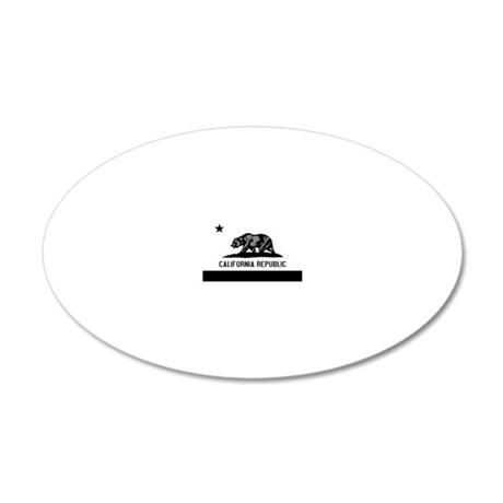 California Flag Black and Gr 20x12 Oval Wall Decal