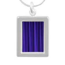 Blue Curtain Silver Portrait Necklace