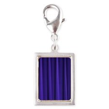 Blue Curtain Silver Portrait Charm