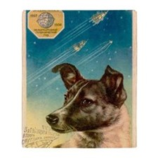 Laika the space dog postcard Throw Blanket