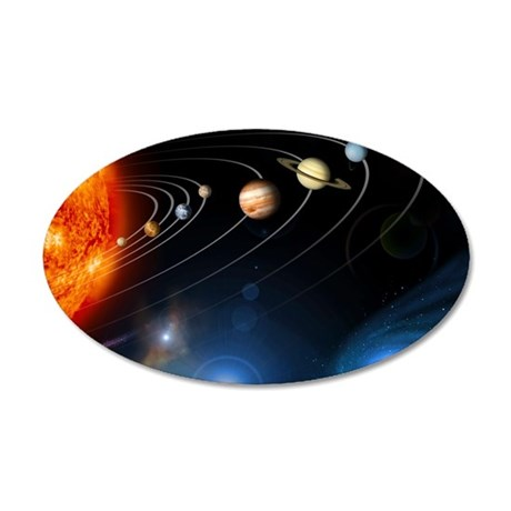 Solar system planets 35x21 Oval Wall Decal