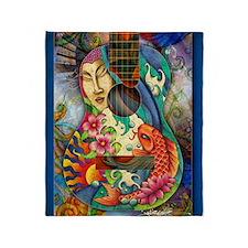 Buddha, Koi, Lotus, Guitar Throw Blanket