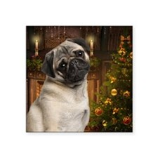 "Pug Square Sticker 3"" x 3"""