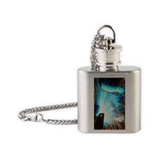 Sparks flying from an argon welder  Flask Necklace