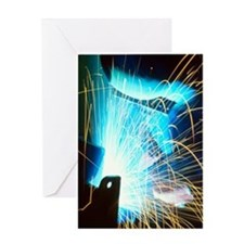 Sparks flying from an argon welder a Greeting Card