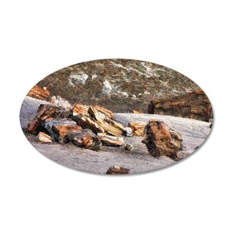 petrified wood 35x21 Oval Wall Decal