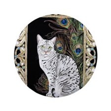 "Silver Egyptian Mau 3.5"" Button"
