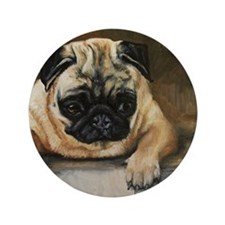 "Pug Dog 3.5"" Button"