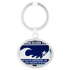 Tsunami warning sign Oval Keychain