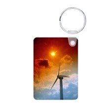 Turbine at Delabole Wind F Keychains