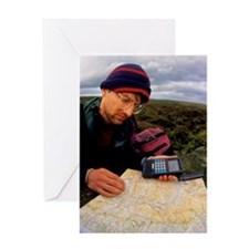 Walker using hand-held GPS receiver Greeting Card
