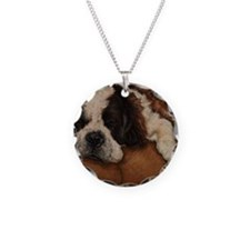 Saint Bernard Sleeping Necklace Circle Charm