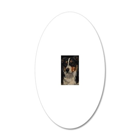 Border Collie Portrait 20x12 Oval Wall Decal