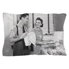 Man and woman doing dishes in kitchen Pillow Case