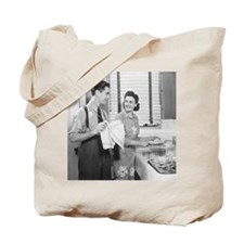 Man and woman doing dishes in kitchen Tote Bag