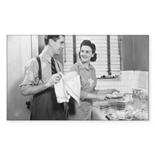 Man and woman doing dishes in  Decal