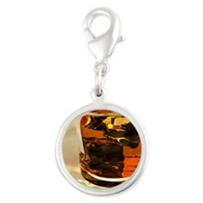 Glass of whiskey, computer art Silver Round Charm