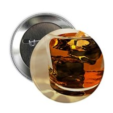 "Glass of whiskey, computer artwork 2.25"" Button"