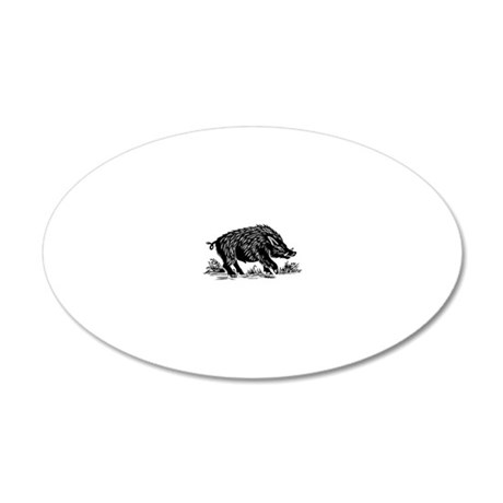 Wild boar, woodcut 20x12 Oval Wall Decal