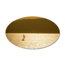 Sailboat at dusk, Barcelona, 35x21 Oval Wall Decal