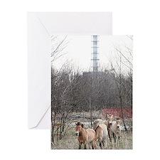 Wild horses near Chernobyl Greeting Card