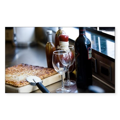 Pizza and bottle of wine Decal