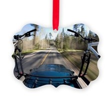 Blurred image of mountain bikes o Ornament
