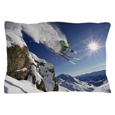 Skier in midair on snowy mountain Pillow Case