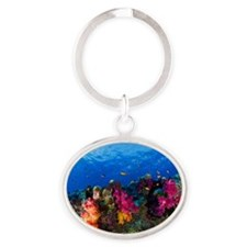 Soft corals on shallow reef, Fiji Oval Keychain