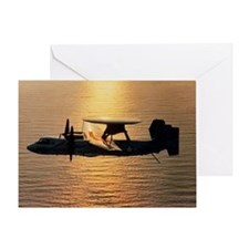 E-2C Hawkeye aircraft flying above t Greeting Card