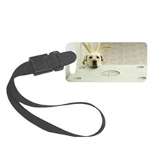 Yellow lab resting head on crate Small Luggage Tag