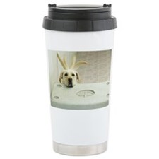 Yellow lab resting head on crat Ceramic Travel Mug
