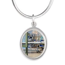 Room in intensive care unit Silver Oval Necklace