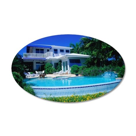 House and Swimming Pool in F 35x21 Oval Wall Decal