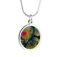 HeLa culture cells Silver Round Necklace