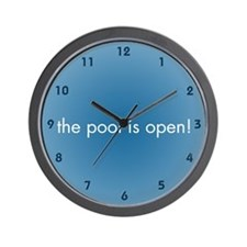 The Pool is Open Wall Clock