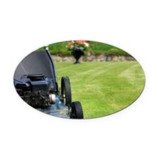 Old Lawnmower parked on nice manic Oval Car Magnet