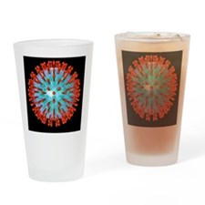 Herpes virus particle, computer art Drinking Glass